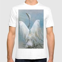 Egret Preparing To Launc… Mens Fitted Tee White SMALL