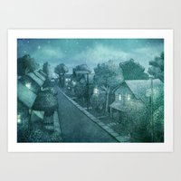 Grimloch Lane - Night Scene Art Print