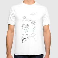 Raining Mens Fitted Tee White SMALL