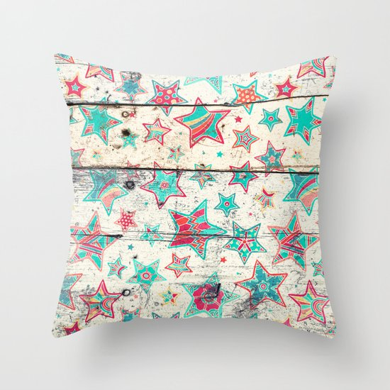 Grunge Stars on Shabby Chic White Painted Wood Throw Pillow