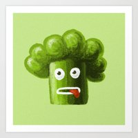 Stressed Out Broccoli Art Print