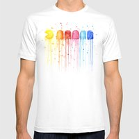 Retro Rainbow Mens Fitted Tee White SMALL