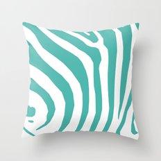 Big Teal Zebra Throw Pillow