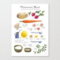 illustrated recipes: moroccan mint vegetables Canvas Print