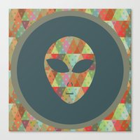 retro pattern and alien 2 Canvas Print