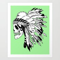 Black and White Native American  Art Print