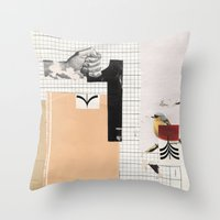 Throw Pillow featuring 1 - Arrow Bird by Fitacola