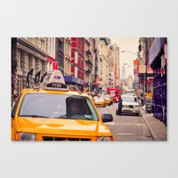 Canvas Print featuring NYC Yellow Cab by Aaron Frey