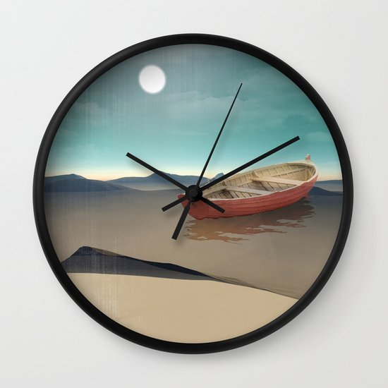 at sea in a void Wall Clock