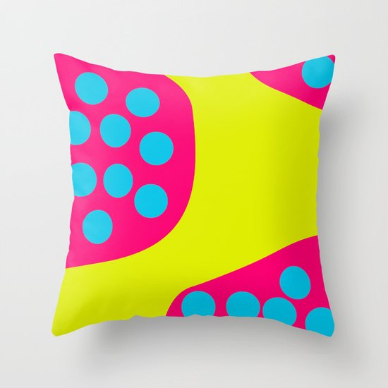 Green Purple Dots Throw Pillow