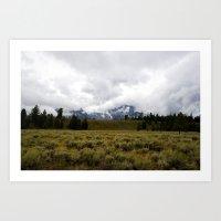Foggy Yellowstone Landscape Art Print