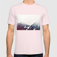 Vintage Snowy Mountain Mens Fitted Tee Light Pink SMALL