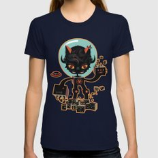DJ Hammerhand cat - party at ogm garden Womens Fitted Tee Navy SMALL