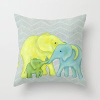Elephant Family Of Three Throw Pillow