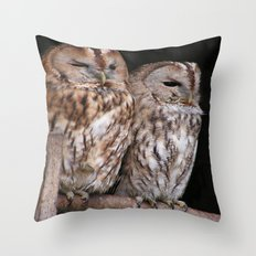 Tawny Owls in Nature Throw Pillow