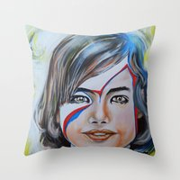Girl With Yellow Bird Throw Pillow