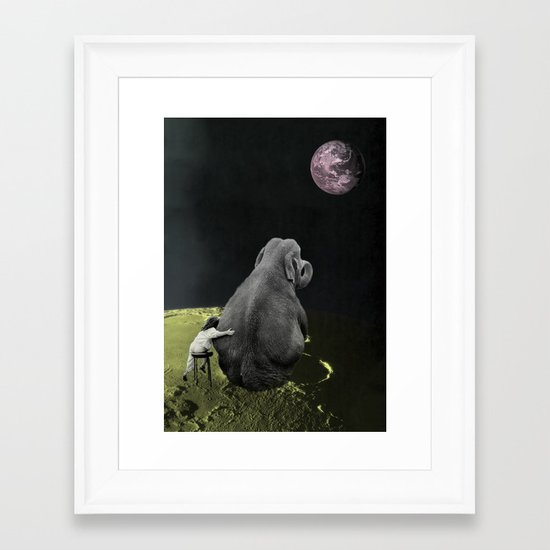 From the moon there is a great view. Framed Art Print
