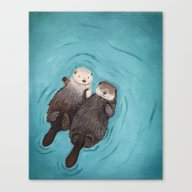 Otterly Romantic - Otter… Canvas Print