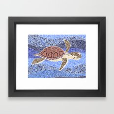 sea turtle: unity through collage Framed Art Print