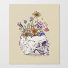Half Skull Flowers Canvas Print
