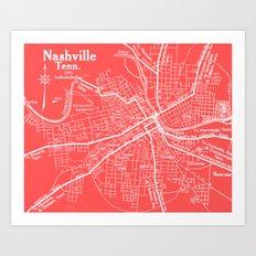 Vintage Nashville Pink Art Print