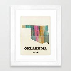 Oklahoma state map modern  Framed Art Print