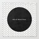 BLACK HELLO BEAUTIFUL - POLKA DOTS Canvas Print