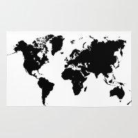 World Map Black Shape Co… Rug