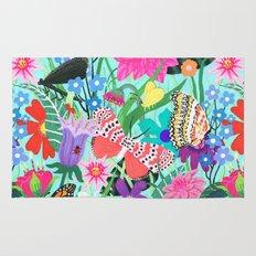 Butterflies and Moths Pattern - Blue Rug