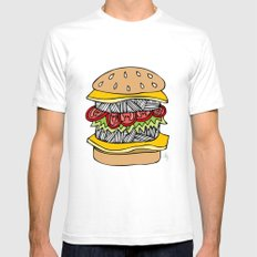 Burger White SMALL Mens Fitted Tee