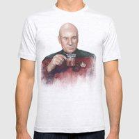 Tea. Earl Grey. Hot. Captain Picard Star Trek   Watercolor Mens Fitted Tee Ash Grey SMALL