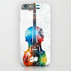 Colorful Violin Art by Sharon Cummings iPhone 6 Slim Case
