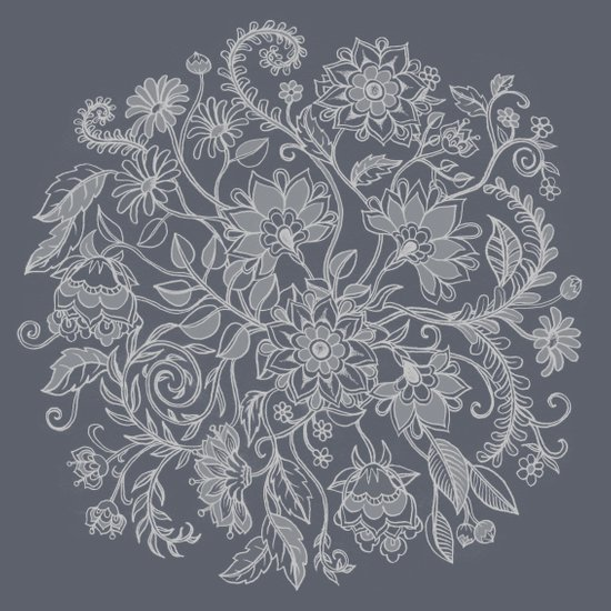 Jacobean Inspired Light on Dark Grey Floral Doodle Art Print