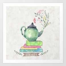 Books & Tea Watercolor Art Print