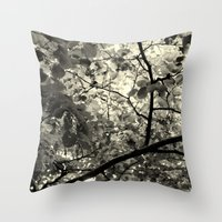 Monochrome Leaf's  Throw Pillow