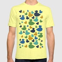 AL AQUA DUCK Blues And G… Mens Fitted Tee Lemon SMALL