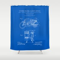 Motorcycle Sidecar Patent 1912 - Blueprint Shower Curtain