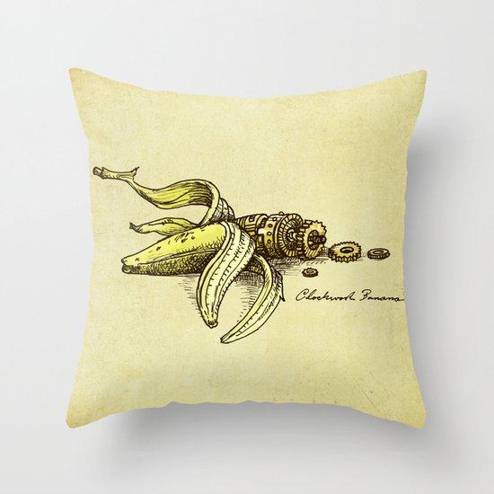 Clockwork Banana Throw Pillow