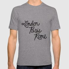 London Paris Rome Mens Fitted Tee Athletic Grey SMALL