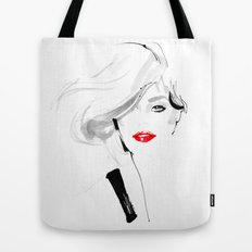 Woman with red lips Tote Bag