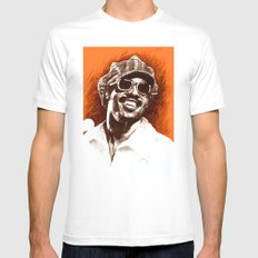 Stevie Wonder White Mens Fitted Tee SMALL