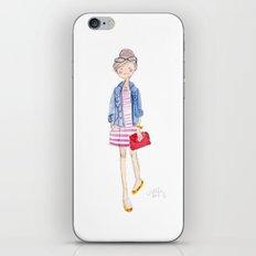 Pink Stripes + Denim Jacket iPhone & iPod Skin