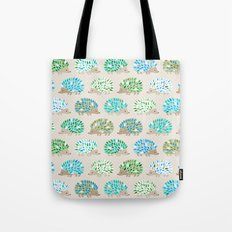 Hedgehog polkadot in green and blue Tote Bag