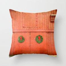 Christmas Barn Throw Pillow