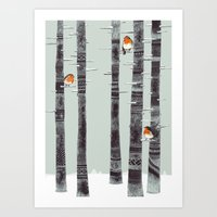 feathers Art Prints featuring Robin Trees by Sandra Dieckmann