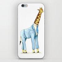 Giraffe in suit iPhone & iPod Skin