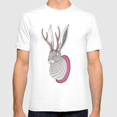 Deer Rabbit White SMALL Mens Fitted Tee