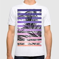 Watercolor summer sunset ombre stripes tropical palm tree Mens Fitted Tee Ash Grey SMALL