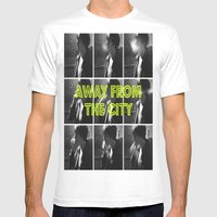 AWAY FROM THE CITY Mens Fitted Tee White SMALL