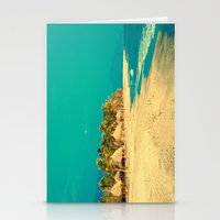 Retro Paradise Beach (Turquoise sky and sea , and hay tents) Stationery Cards